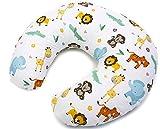 Niimo Cuscino allattamento Neonato + Federa 100% Cotone Sfoderabile e Lavabile con Zip a Scomparsa Facilita L'allattamento al seno o con il Biberon, Versatile (Giungla)