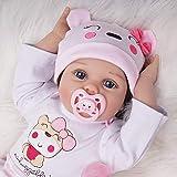 Bambola Reborn Ragazza Bambina Femmina Silicone Vinile Vestiti Bianco e Rosa con Giocattolo Orso 55 cm