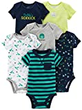 Simple Joys by Carter's Baby - Body a maniche corte, confezione da 6 ,Navy/Turquoise ,0-3 Months